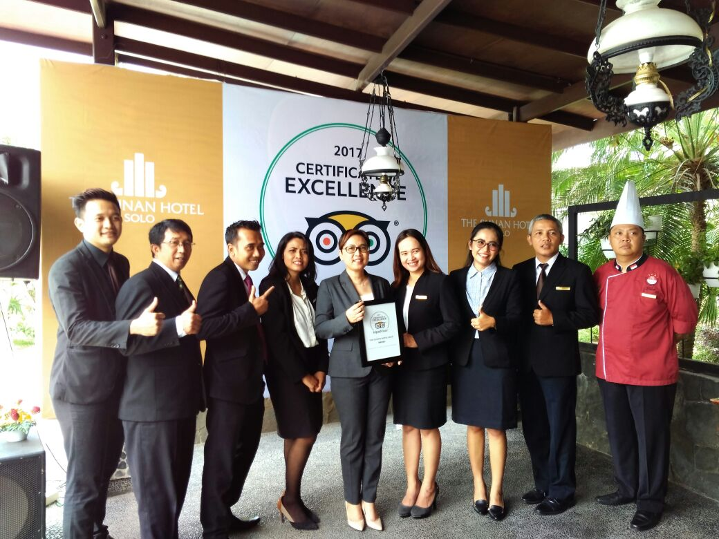 The Sunan Hotel Solo winning Certificate of Excellent Tripadvisor 2017